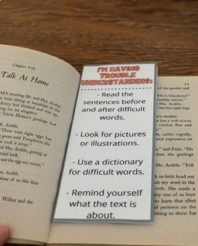 The fun bookmark is the perfect tool for students doing independent reading! It directs them to use strategies when they are having difficulty with a text. When they're done reading, it gives them post-reading strategy ideas! Choose from 5 different bookmark designs for students to decorate.