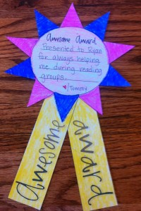 Students make awards for their classmates. To be fair, you can assign names or have students pick from a hat (just to make sure everyone gets an award).
