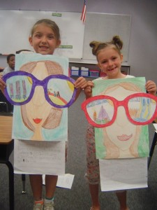 Create self portraits with giant glasses that look in to the future. This could be: their upcoming summer, next year or their future careers.