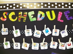 Wonderful ideas for more creative ways to display your daily class schedule, while also saving precious board space!