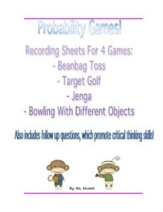 Freebie: 4 recording & reflection sheets, for 4 amazing and fun probability game ideas!