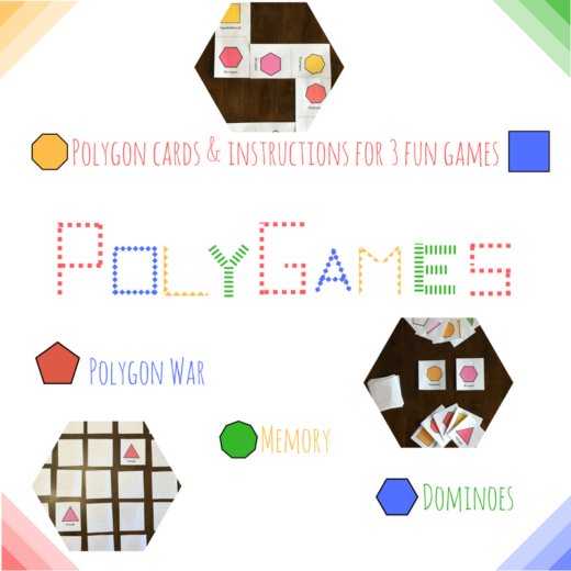 Three fun card games that teach students shape recognition. Polygon War, Memory Game, and Shape Dominoes.