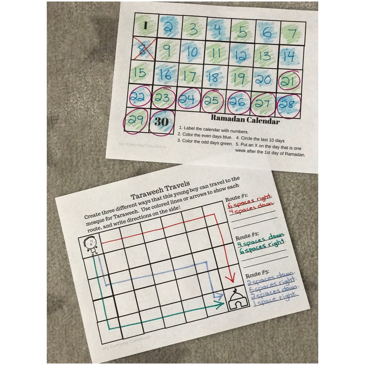 Free Ramadan themed math package, with 5 fun activities. Perfect for ages 7+ and includes concepts such as data management and number sense.