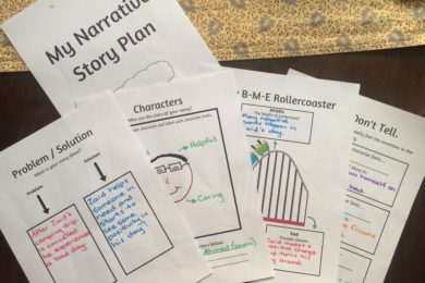 A fun narrative writing planner that includes: 1. Problem/Solution, 2. Character development, 3. Beginning, middle, end sequence & 4. Language choice.